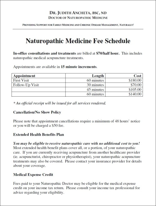 Naturopathic Medicine Fee Schedule for Dr. Ancheta, ND